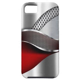 Rojo de la malla de la plata metalizada del coche iPhone 5 fundas