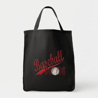 Rojo de la mamá del béisbol bolsa tela para la compra