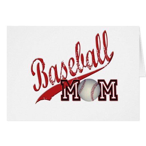 Rojo de la mamá del béisbol tarjeta de felicitación