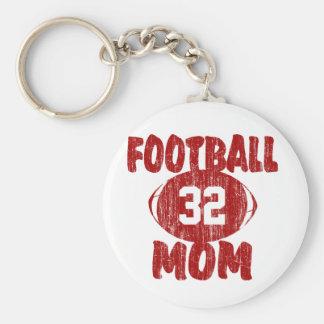 Rojo de la mamá del fútbol llavero redondo tipo pin