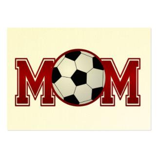 Rojo de la mamá del fútbol tarjetas de negocios