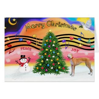 Rojo de la música 2 del navidad - galgo - tarjeta de felicitación