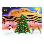 Rojo de la música 2 del navidad - galgo - tarjetas postales