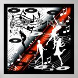 Rojo de la música de danza del rock-and-roll del p posters