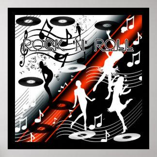 Rojo de la música de danza del rock-and-roll del póster