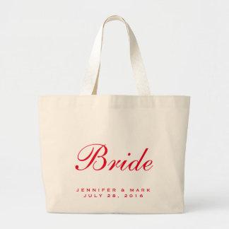 Rojo de la novia bolsa tela grande
