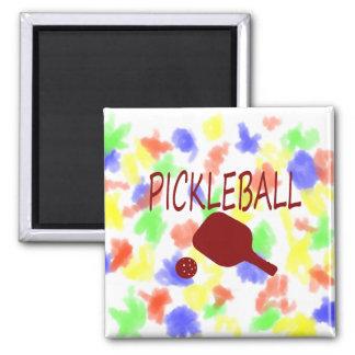 rojo de la paleta y de la bola del pickleball w imán para frigorifico