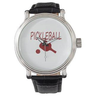 rojo de la paleta y de la bola del pickleball w relojes de pulsera