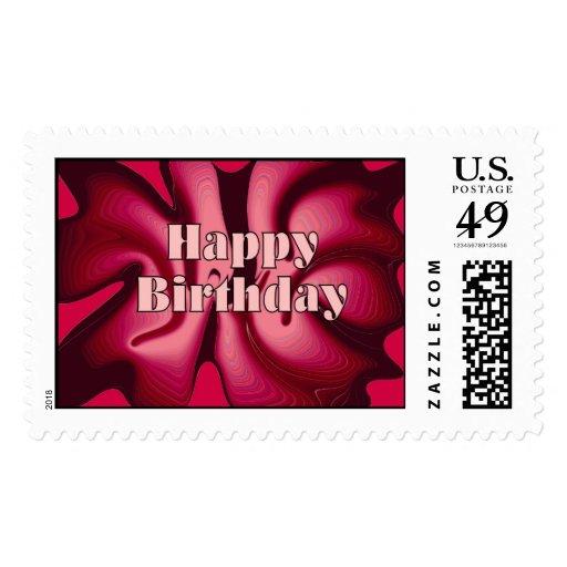 Rojo de la pasión del feliz cumpleaños sello