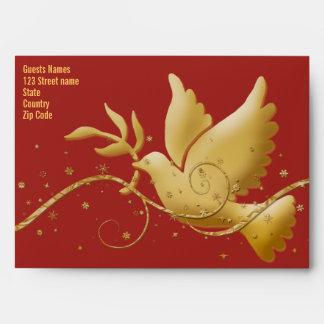 Rojo de la paz de la paloma y plantilla del sobre