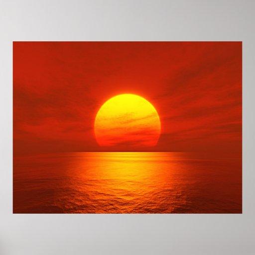 rojo de la puesta del sol póster