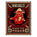 Rojo de la revolución del robot postales