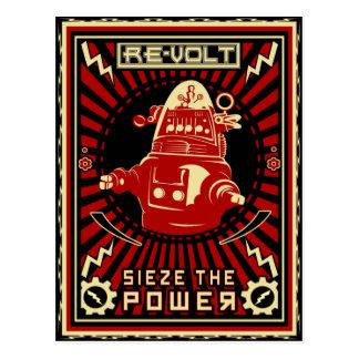 Rojo de la revolución del robot tarjeta postal