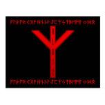 Rojo de la runa de Algiz Tarjetas Postales