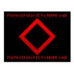Rojo de la runa de Ingwaz Tarjeta Postal