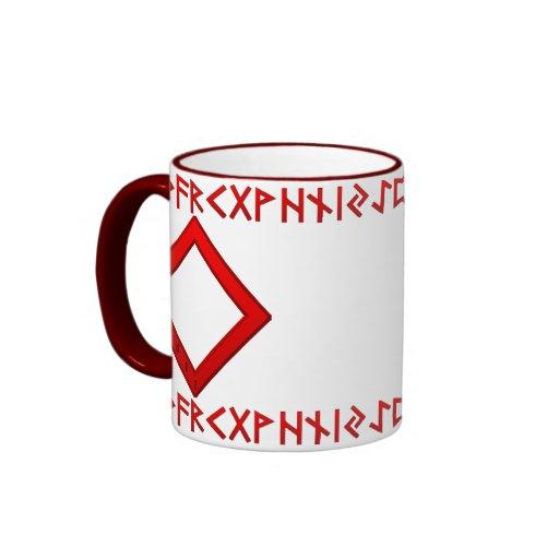 Rojo de la runa de Ingwaz Taza De Café