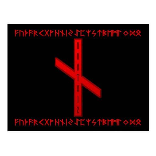 Rojo de la runa de Nauthiz Tarjetas Postales