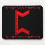 Rojo de la runa de Pertho Tapetes De Ratones