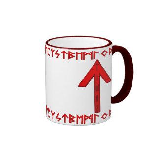 Rojo de la runa de Tiwaz Tazas De Café