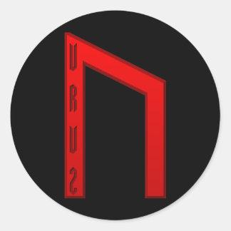 Rojo de la runa de Uruz Pegatina Redonda
