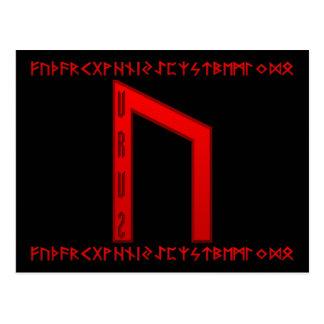 Rojo de la runa de Uruz Tarjeta Postal
