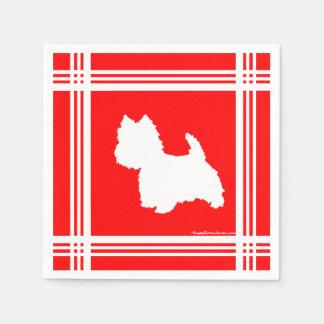 Rojo de la silueta de Westie Servilleta De Papel