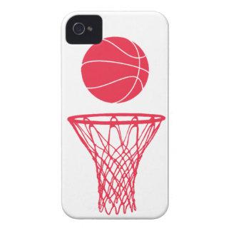 rojo de la silueta del baloncesto del iPhone 4 en iPhone 4 Case-Mate Cárcasa