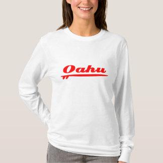 Rojo de la tabla hawaiana de Oahu Playera