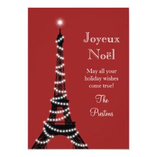 """Rojo de la tarjeta de la torre Eiffel del día de Invitación 5"""" X 7"""""""