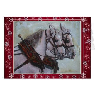 Rojo de la tarjeta de Navidad del caballo de proye
