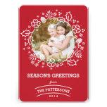 Rojo de la tarjeta el | de la foto de los saludos  comunicado personal