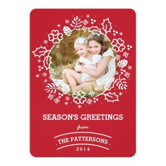 Rojo de la tarjeta el | de la foto de los saludos invitación 12,7 x 17,8 cm
