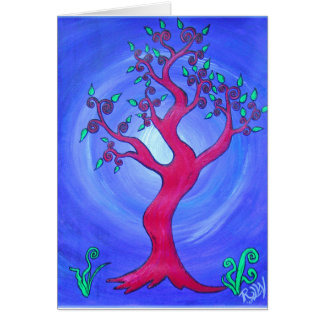 Rojo de la Tarjeta-Simple del saludo el árbol