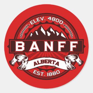 Rojo de la teja de Banff Pegatina Redonda