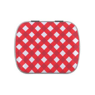 Rojo de la tela escocesa 1 jarrones de caramelos