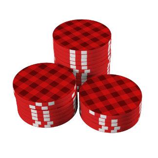 Rojo de la tela escocesa 2 juego de fichas de póquer