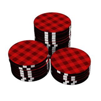 Rojo de la tela escocesa 2 fichas de póquer