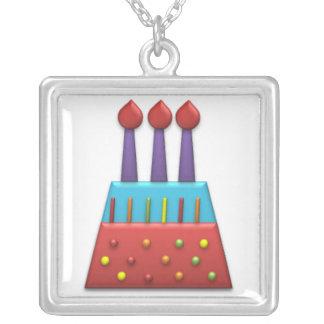 Rojo de la torta de cumpleaños del arco iris del f colgante cuadrado