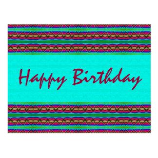 Rojo de la turquesa del feliz cumpleaños tarjeta postal