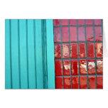 Rojo de la turquesa tarjeta de felicitación
