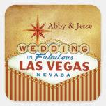 Rojo de ladrillo y oro Las Vegas Colcomanias Cuadradas Personalizadas
