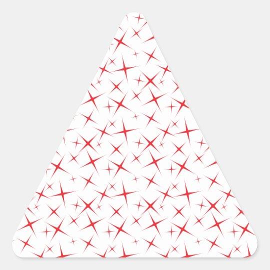 rojo de las estrellas 4 pegatina triangular
