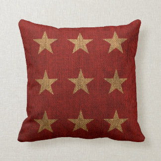 Rojo de las estrellas y natural rústicos almohada