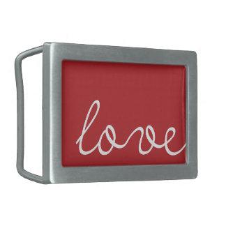 Rojo de las hebillas del cinturón del amor y de la hebilla de cinturon rectangular