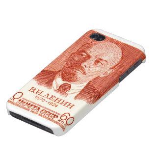 Rojo de Lenin iPhone 4 Protectores