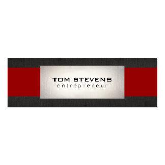 Rojo de lino negro de plata moderno simple rayado tarjetas de visita mini
