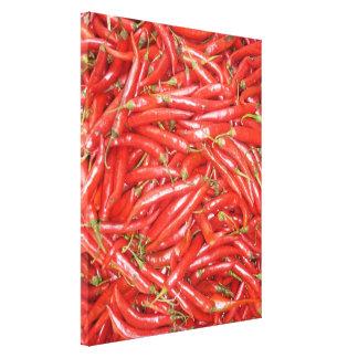 rojo de los chiles lienzo envuelto para galerías