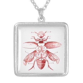 Rojo de los escarabajos el | de la imagen el | del colgante cuadrado