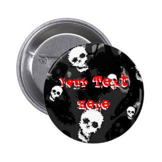 """Rojo de los espectros B&W del cráneo botón de """"su  Pins"""