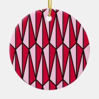 Rojo de los mediados de siglo y rosado adorno redondo de cerámica